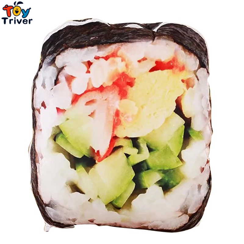 Simulation Plush Sushi Toy Stuffed Doll Creative Japanese Food Pillow Cushion Shop Home Decor Funny Gift Triver Drop Shipping 1pcs 52 26cm creative novelty item funny women big mouth shape cushion pink red lip plush toy throw pillow for couch pregnancy