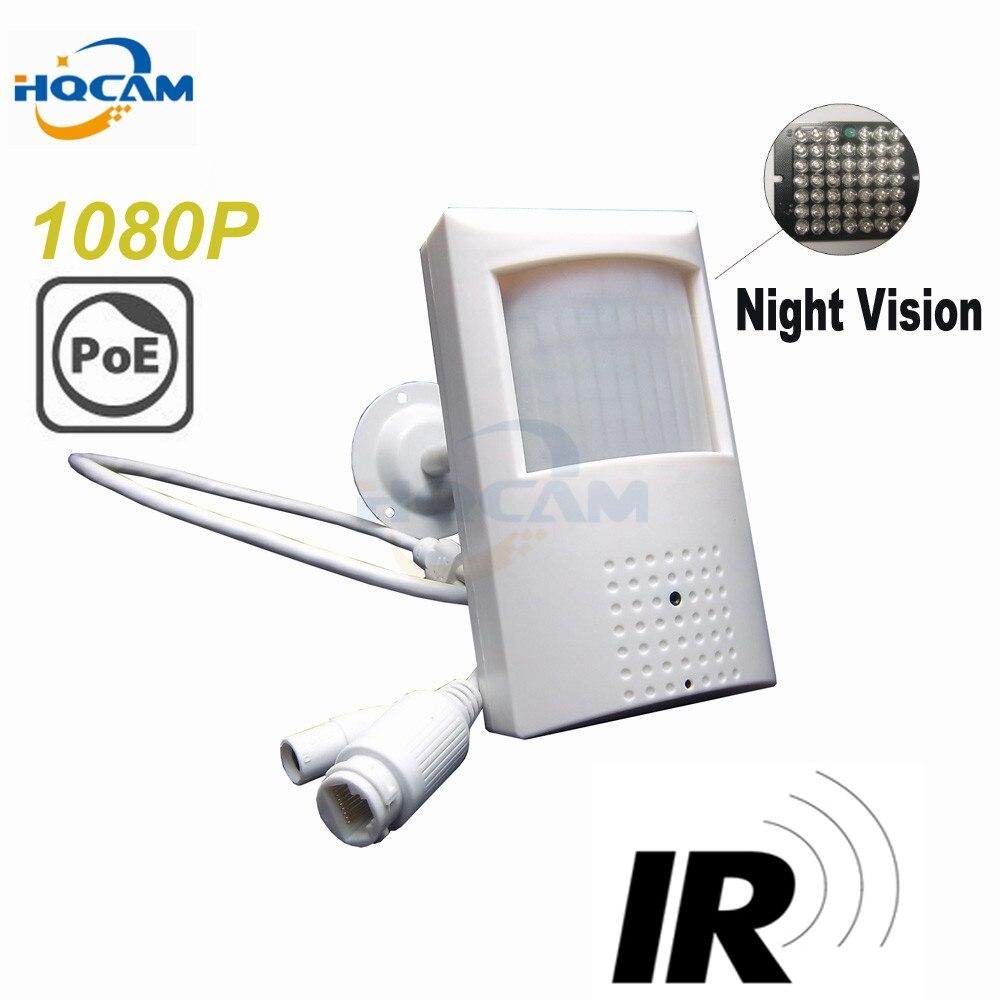 Hqcam 1080 P POE ip-камера ИК-Ночное видение камеры 940nm инфракрасный IP-камера мини POE PIR Стиль Детектор движения ИК камера p2p
