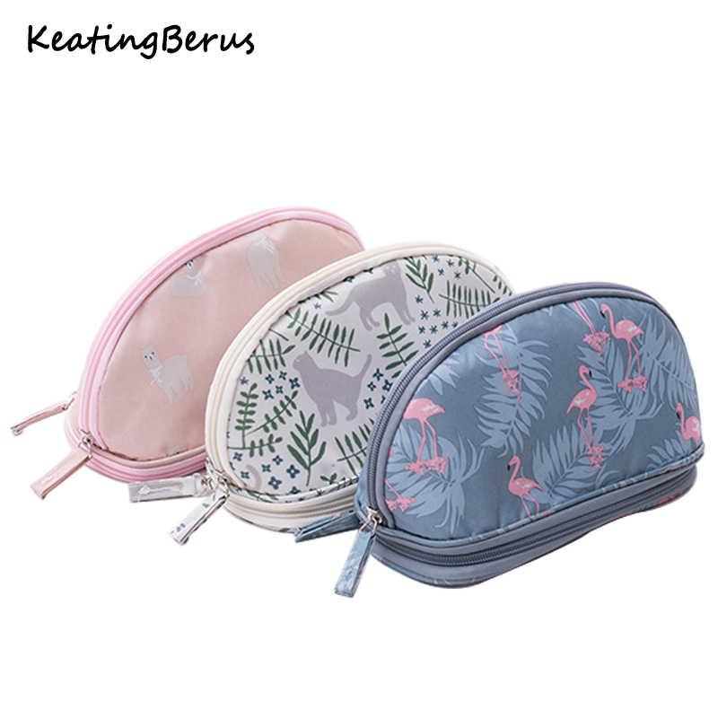 fc6371e7d21f GABWE Travel Cosmetic Bag Flamingo Makeup Case Women Zipper Hand ...