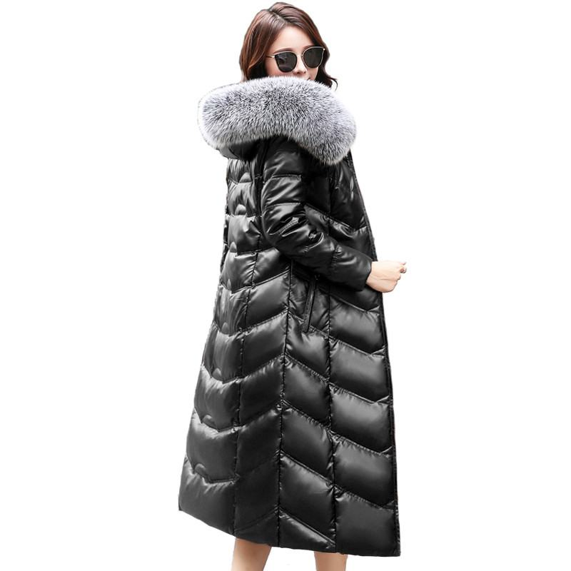 2019 New Winter Women Sheepskin   Leather   Down Jacket Female Real Fox Fur Hooded Thick Warm Down Coat Outerwear Plus Size 5XL W18