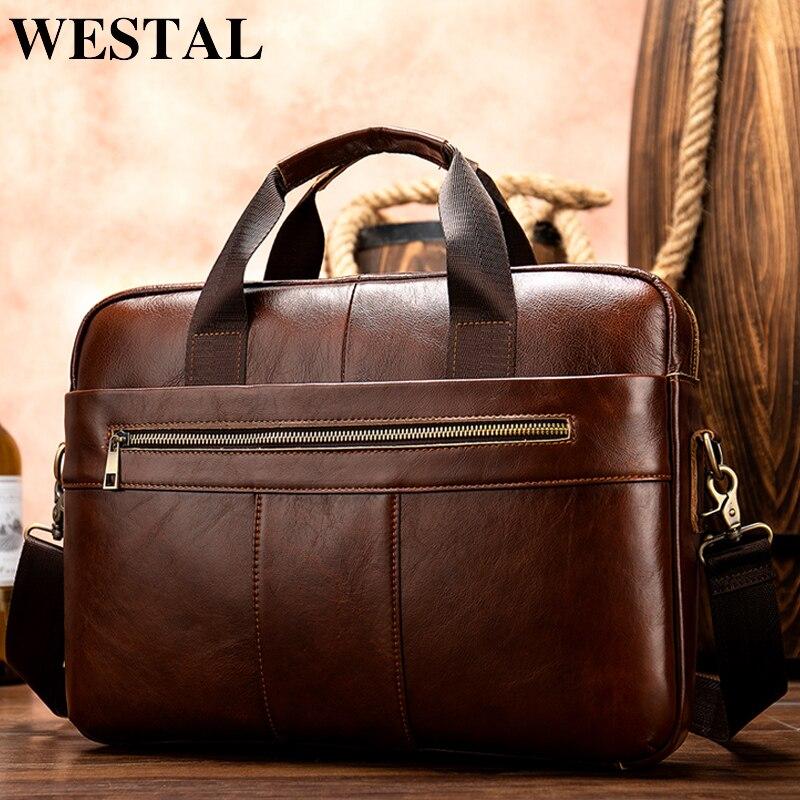 0e22119765f4 Мужские портфели WESTAL из натуральной кожи, мужские кожаные портфели для  ноутбуков, Офисные Сумки для мужчин, сумка для компьютера 8523