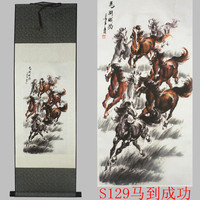 TOP foreign business gift Home office WALL Decorative painting Success 8 horses courser FENG SHUI ART chinese silk painting