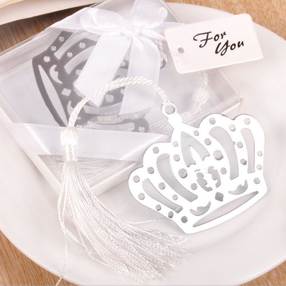20pcs Silver Stainless Steel White Tassels Crown Bookmark For ...