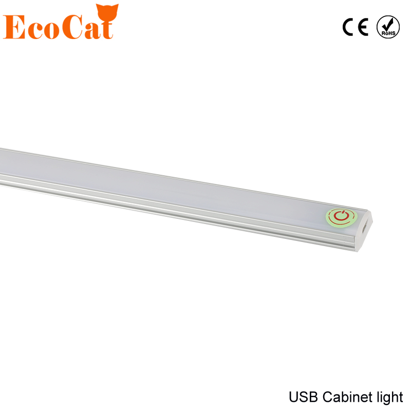 ECO Cat LED Cabinet Light Touch Sensor Kitchen Lamp DC 5V Wardrobe Closet Showcase Bookshelf White USB Lamp With Touch Switch large 24x24 cm simulation white cat with yellow head cat model lifelike big head squatting cat model decoration t187