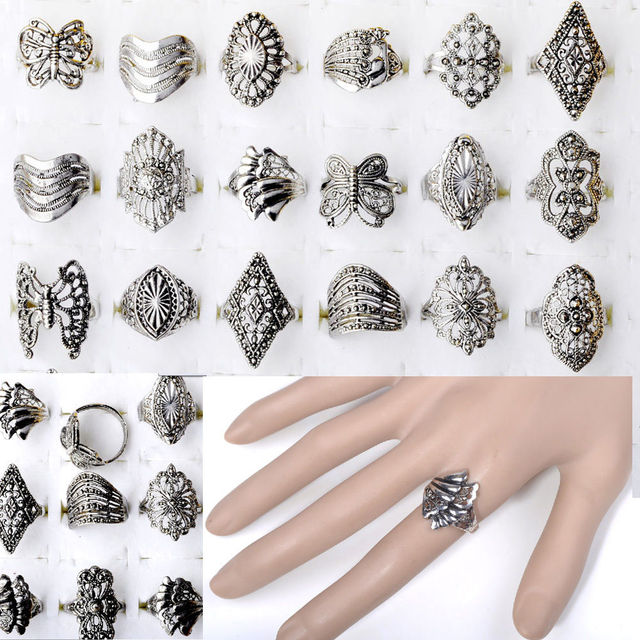 10pcs Wholesale Bulk Jewelry Lots Mixed Style Tibet Silver Vintage Rings Free