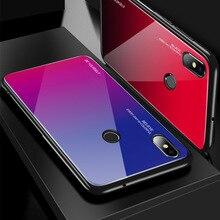 Gradient Glass Phone Case For Xiaomi Mi 9 SE 8 lite 6 6X Mix 3 Max Silicone Bumper Redmi K20 Note 7 Pro Shockproof