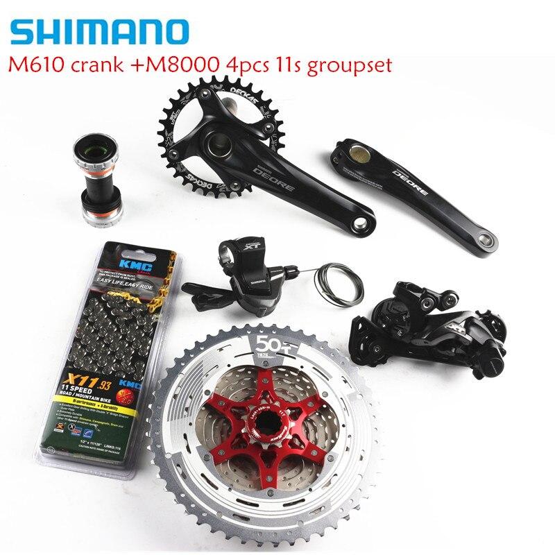 SHIMANO Deore M610/M615 + XT M8000 список групп MTB 11 скорость 175 мм 32/34/36/38 т шатуны SGS переключатель + K7 11-50 т + цепь KMC