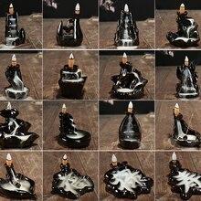 Ceramic Incense Burner Holder Buddhist Backflow Incense Burners with 10 Pcs Mixed Cones Censer Cones Stick Holders Home Decor hem incense cones precious patchouli 10 packs of 10 100 cones