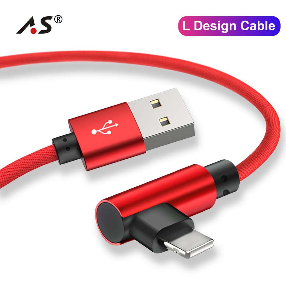 A.S 90 Degree USB Data Fast Charger <font><b>Cable</b></font> for <font><b>iPhone</b></font> X XR XS MAX 5 5S SE <font><b>6</b></font> S 6S 7 8 Plus iPad Phone Long Cord Charge 1M 2M <font><b>3M</b></font> image
