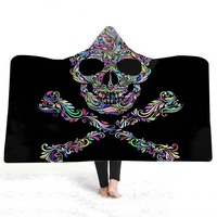 3D Colored Skull Halloween Thicking Hooded Blanket for Adult Gothic Sherpa Fleece Wearable Throw Blanket Microfiber Bedding