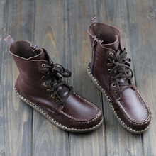 Women's Boots Genuine Leather Fashion Boots Round toe Mid-calf Zip Boots Hand-made Leather Woman Shoes Female Footwear(1957-1)