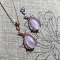 Luxo rosa gota pingente de cristal de alta qualidade pingente de cristal em pó natural sólido 925 sterling silver pendant necklace