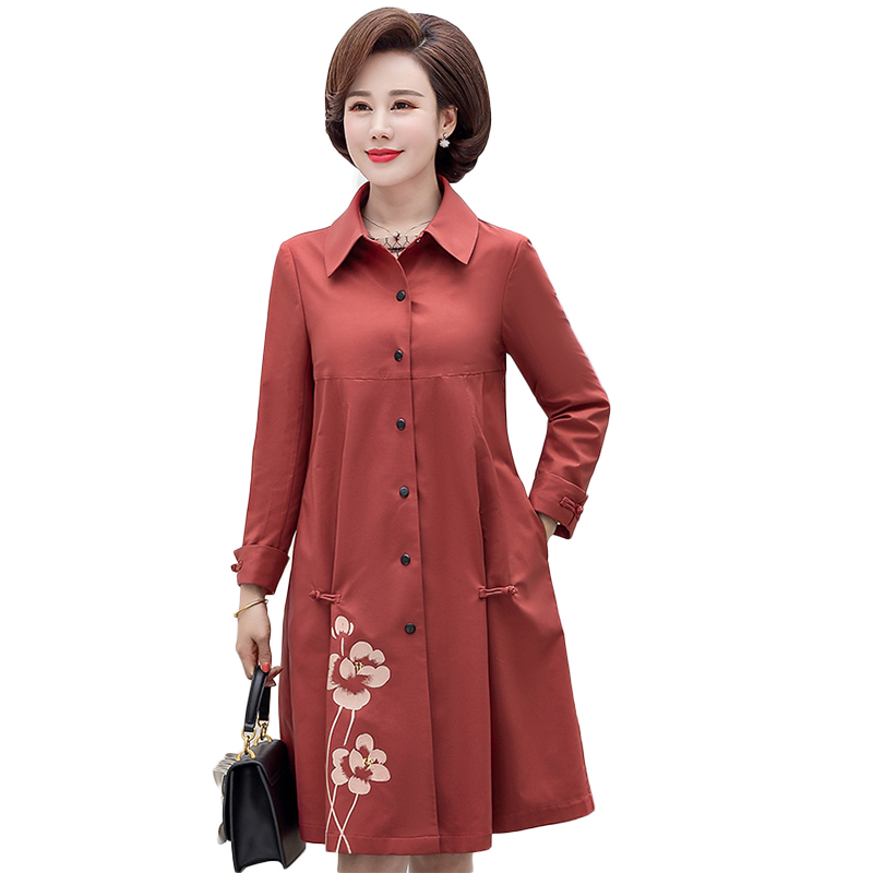 Spring Autumn 2019 New Women's   Trench   Coat Plus Size 4XL Windbreaker Casual Fashion Flower print Overcoat Big Size NW1328