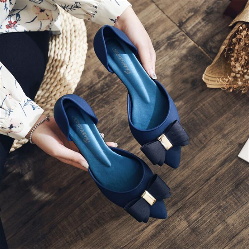 DIWEINI Sexy Women Buckle Strap Low Heels Pumps Pointed Toe Flock D'Orsay Heels Shoes For Woman Ladies Single Shoes Blue
