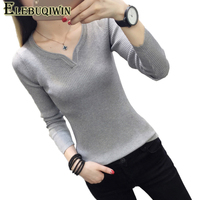 Autumn Winter 2018 New Women S Knit Sweater Korean V Neck Pullover Short Sweaters Solid Color