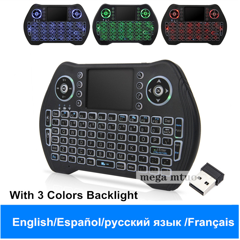 Hintergrundbeleuchtung Englisch Russisch Französisch Spanisch 2,4 Ghz Mini Usb Wireless Tastatur Touchpad Air Maus Fly Air Maus Für Android Windows Elegante Form
