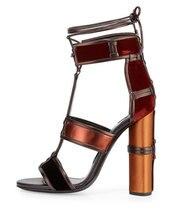 Новейший предназначен лоскутное открытым носком сандалии высокой пятки зашнуровать обувь женщина летом лодыжки ремень коренастый пятки сандалии