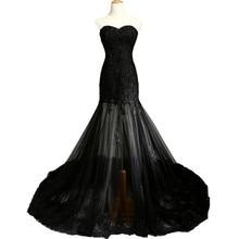 RILYNDA Black Evening Dresses Long Sweetheart Applique Beaded Floor Length Saudi Arabic Evening Gowns Women Formal Dresses