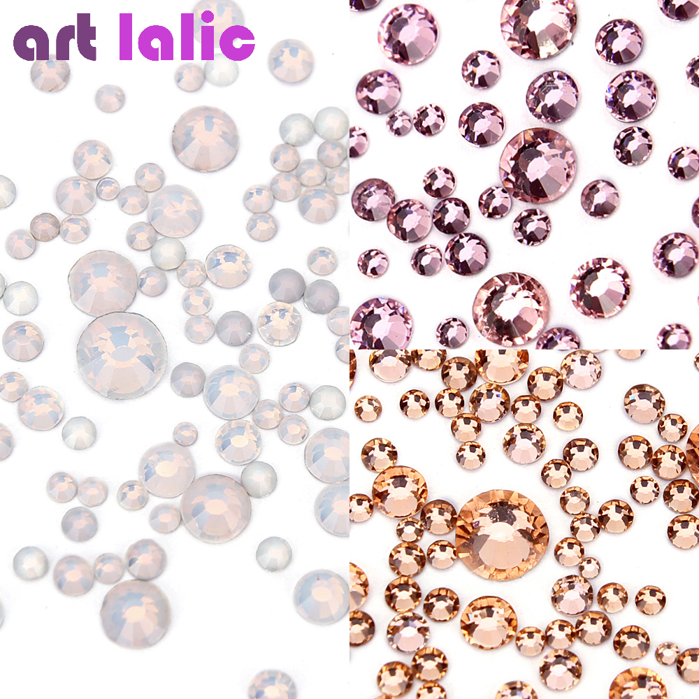 1440Pcs/lot Nail Art Rhinestones Crystal Opal Pink Champagne Flatback Non Hotfix DIY Tips Sticker Beads Nail Jewelry Accessory flatback new design resin for 3d nail art decorations diy rhinestones 2 6mm light pink ab color glitter crystal non hotfix beads