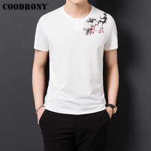 COODRONY T Shirt Men Chinese Style Floral Print Tshirt Henry Collar T-Shirt Men 2019 Summer Short Sleeve Tee Shirt Homme S95125 недорого