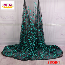 2018 Latest French Nigerian Sequins Flower Lace Fabrics High Quality African Net Lace Fabric For Wedding Dress Green XY2194B-1