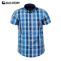 GLO STORY European Men's 2019 Casual Plus Size Plaid Shirt Tops Men Summer Short Sleeve Checked Shirts Blouse 3 4 5 6 XL 7898