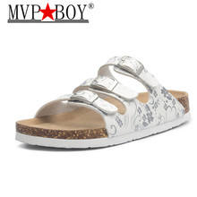 MVP BOY New style Summer Buckle Cork Slipper Women Flat with Shoes 2018 Casual Mixed Color Beach Slides Flip Flops size 35-43