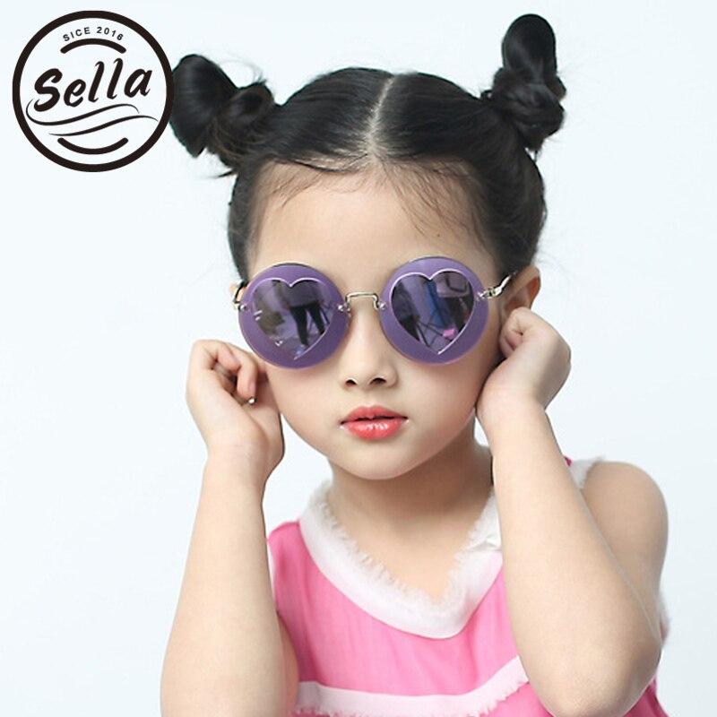 Sella New Fashion Kids Polarized Sunglasses Super Round Colorful Film Coating Heart Lovely Girls Sun Glasses Anti-UV