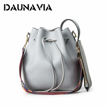DAUNAVIA Fashion Colorful Strap Bucket Bag Women practical Pu Leather Shoulder Bag Ladies Crossbody Bags practical high-capacity