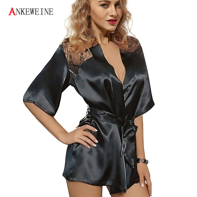 New Sexy Lingerie Satin Lace Back Style Ladies Robes Night Gown Nightwear Sexy Nightwear Mature