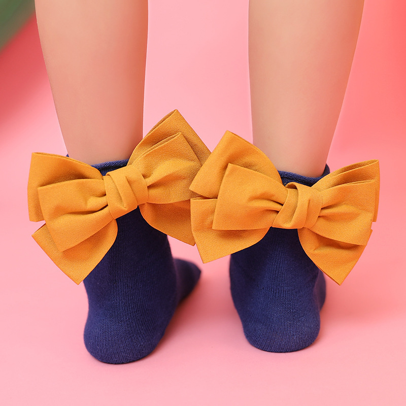 Cute Baby Girls Sweet Socks Big Bow Ruffle Ankle Short Socks Candy Colors Kids Princess Sock