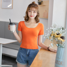 2019 Summer new double U-neck halter exposed navel T-shirt short paragraph wild slim short-sleeved stretch bottoming shirt цена