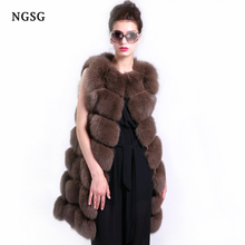 Real Fur Vest Women Fox Fur Vest Genuine Fox Fur Material Fashion Length 90 cm Winter Warm Coat Female Popular Style ER4020-66