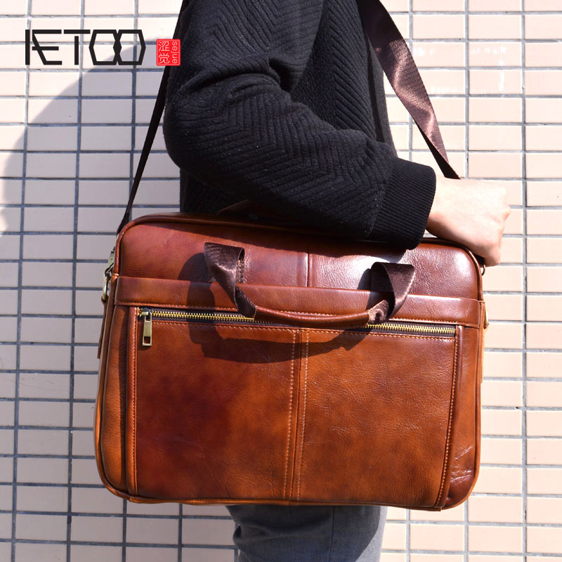 AETOO Genuine Leather Bag Men Bag Cowhide Men Crossbody Bags Men's Travel Shoulder Bags Tote Laptop Briefcases Handbags brown lacus jerry genuine cowhide leather men bag crossbody bags men s travel shoulder messenger bag tote laptop briefcases handbags