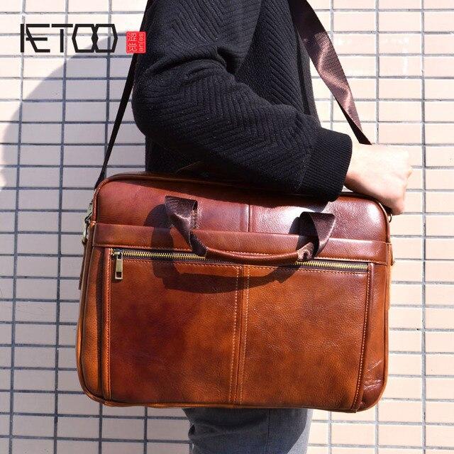 AETOO/Мужская сумка из натуральной кожи; мужские сумки через плечо из воловьей кожи; мужские дорожные сумки на плечо; сумки-тоут; портфели для ноутбуков; коричневые сумки