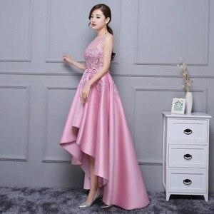 Image 3 - DongCMY Asymmetrical Prom Dress Vestido Lace Satin Dress Elegant Formal Party Dress Gowns
