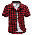 New 2017 Summer Men's Plaid Short Sleeve Shirt  Slim  Shirt Free Shopping