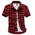 Nova Verão 2017 Camisa Xadrez de Manga Curta Camisa Magro dos homens Free Shopping