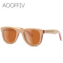 AOOFFIV Wood Sunglasses Women Polarized Lens Glasses Skateboard Wood Frame Eyewear 2017 New Designer Shades UV400 Protection