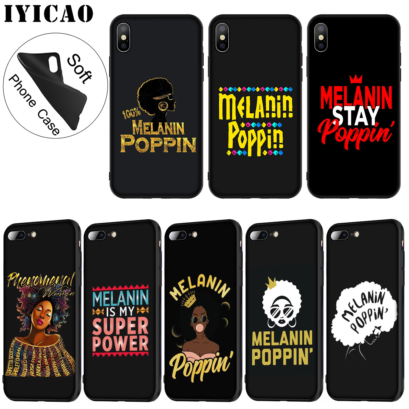 In Audacious Iyicao 2bunz Melanin Poppin Aba Soft Silicone Phone Case For Iphone Xr X Xs Max 6 6s 7 8 Plus 5 5s Se Tpu Black Cover Superior Quality