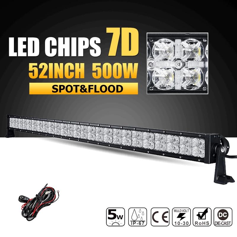 Oslamp 52inch 500W 7D LED Light Bar Combo Led Work Light 12v 24v Offroad Led Bar for Jeep Truck SUV 4WD 4x4 Pickup Driving Lamp mitya veselkov райский сад art