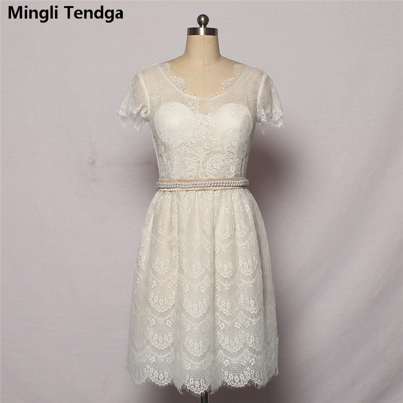2018 Beige   Bridesmaid     Dresses   Perspective Lace Sexy   Dresses   Wedding Party   Dress   V-neck Short   Dresses   For Wedding Mingli Tengda
