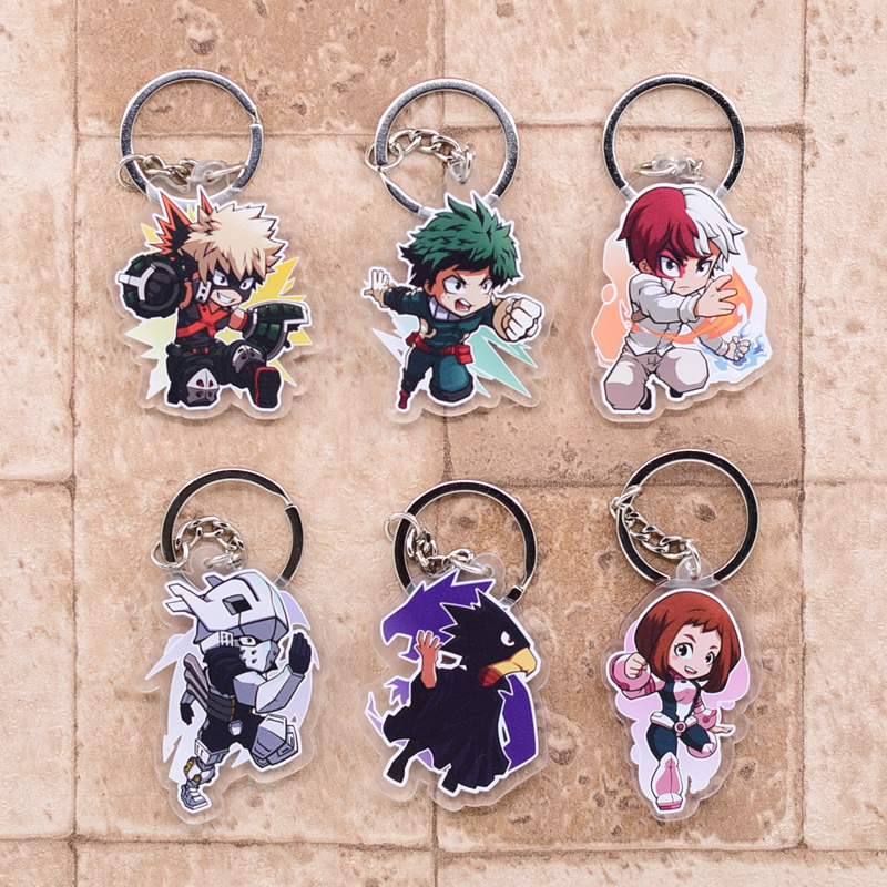 2019 My Hero Academy Keychain Bakugo Double Sided Acrylic Shoto Key Chain Pendant Anime Accessories Cartoon Key Ring