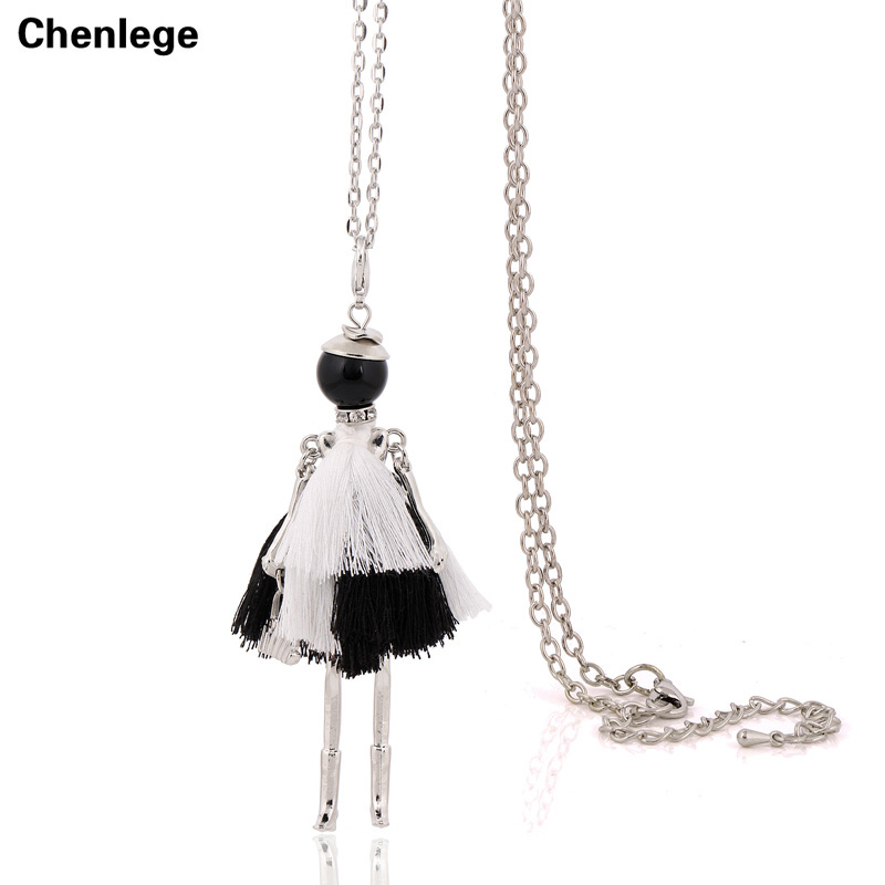 French Tassel Necklace Long Chain Doll Statement Necklace Pendant 2017 New Style Big Collar Fashion Jewelry For Women Choker