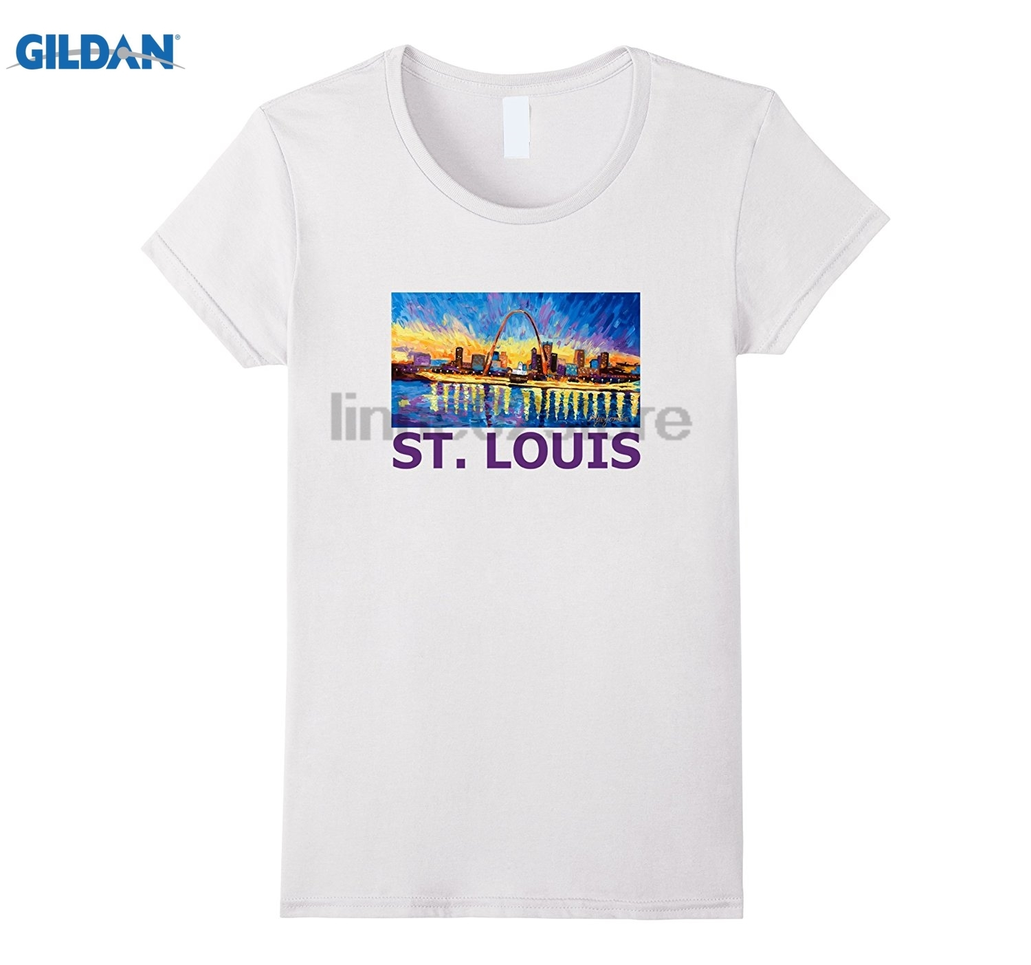 GILDAN ST. Louis Missouri Skyline Panorama Painting Art T Shirt Womens T-shirt dress T-shirt