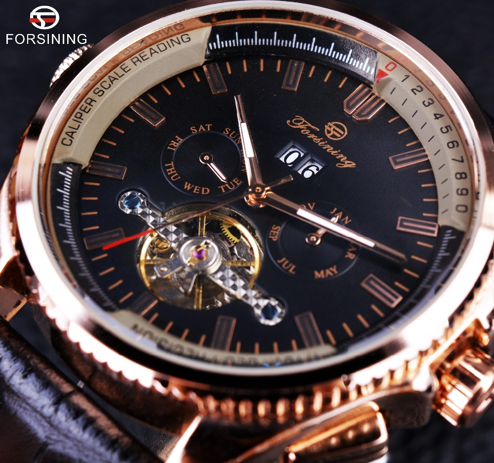 Forsining Rose Golden Calendar Display Tourbillon Stylish Design Gear Bezel Men Watch Top Brand Luxury Automatic Watch Clock Men forsining date month display rose golden case mens watches top brand luxury automatic watch clock men casual fashion clock watch