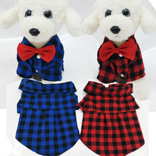 Dog Clothes Gentle Formal Shirts with Red Bow Tie For Small Dogs Pet Polo Apparel Puppy Plaid T Shirt Jacket Costume