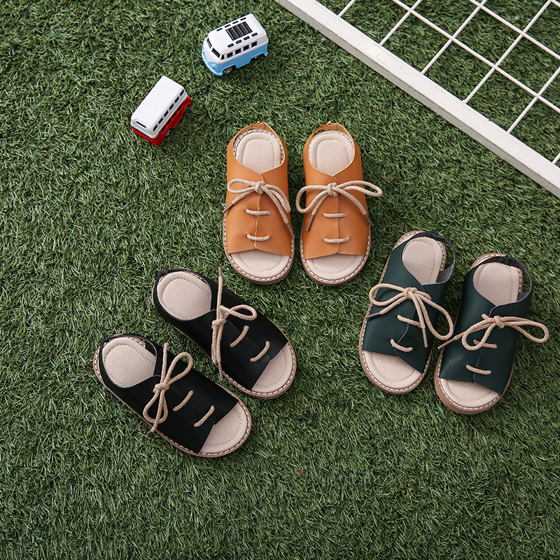 Kids Genuine Leather Sandals For Boys Girls Soft Leather Summer New Children Open Toe Lace-up Beach Shoes Baby Toddler Sandals