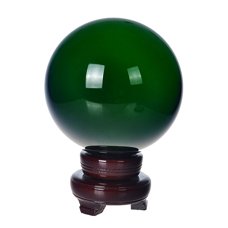150mm Natural Quartz Green Crystal glass Feng Shui Chakra Healing Gemstone Sphere Magic Ball with wooden base for home decor