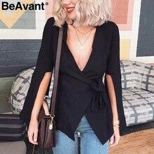 ecd87fd497638 BeAvant Sexy V-Cuello blanco de las mujeres abrigo tie traje femenino traje  de chaqueta manga casual Oficina chaqueta outwear 20.
